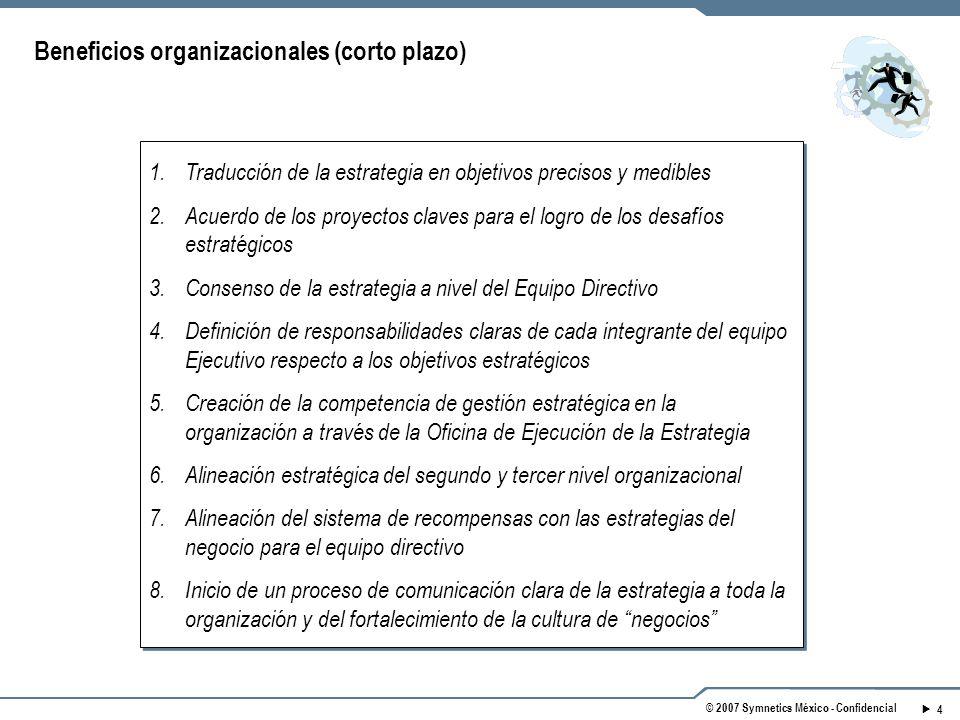 4 © 2007 Symnetics México - Confidencial Beneficios organizacionales (corto plazo) 1.Traducción de la estrategia en objetivos precisos y medibles 2.Acuerdo de los proyectos claves para el logro de los desafíos estratégicos 3.Consenso de la estrategia a nivel del Equipo Directivo 4.Definición de responsabilidades claras de cada integrante del equipo Ejecutivo respecto a los objetivos estratégicos 5.Creación de la competencia de gestión estratégica en la organización a través de la Oficina de Ejecución de la Estrategia 6.Alineación estratégica del segundo y tercer nivel organizacional 7.Alineación del sistema de recompensas con las estrategias del negocio para el equipo directivo 8.Inicio de un proceso de comunicación clara de la estrategia a toda la organización y del fortalecimiento de la cultura de negocios 1.Traducción de la estrategia en objetivos precisos y medibles 2.Acuerdo de los proyectos claves para el logro de los desafíos estratégicos 3.Consenso de la estrategia a nivel del Equipo Directivo 4.Definición de responsabilidades claras de cada integrante del equipo Ejecutivo respecto a los objetivos estratégicos 5.Creación de la competencia de gestión estratégica en la organización a través de la Oficina de Ejecución de la Estrategia 6.Alineación estratégica del segundo y tercer nivel organizacional 7.Alineación del sistema de recompensas con las estrategias del negocio para el equipo directivo 8.Inicio de un proceso de comunicación clara de la estrategia a toda la organización y del fortalecimiento de la cultura de negocios