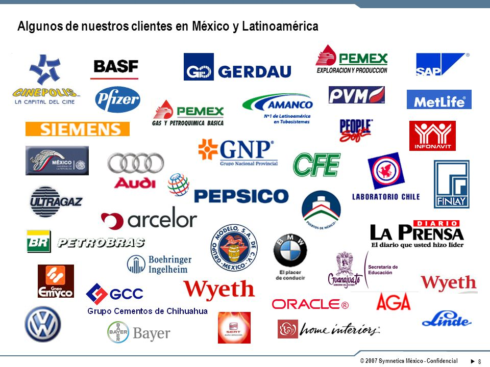 8 © 2007 Symnetics México - Confidencial ® Algunos de nuestros clientes en México y Latinoamérica