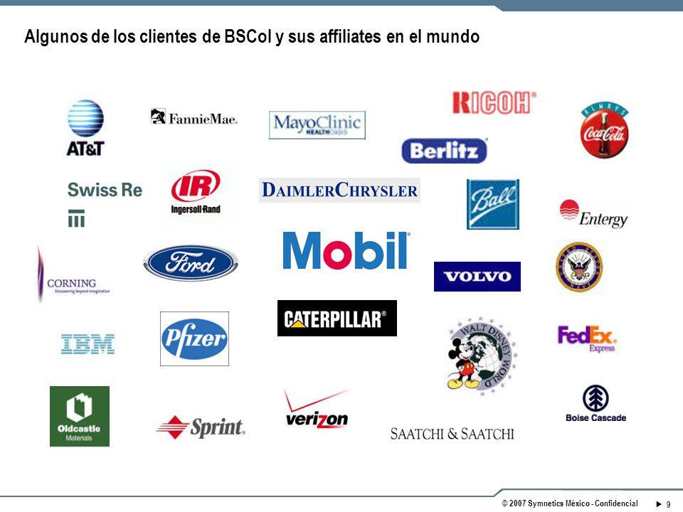 9 © 2007 Symnetics México - Confidencial Algunos de los clientes de BSCol y sus affiliates en el mundo