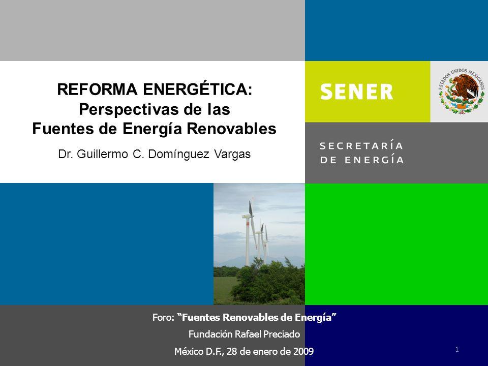 REFORMA ENERGÉTICA: Perspectivas de las Fuentes de Energía Renovables Foro: Fuentes Renovables de Energía Fundación Rafael Preciado México D.F., 28 de