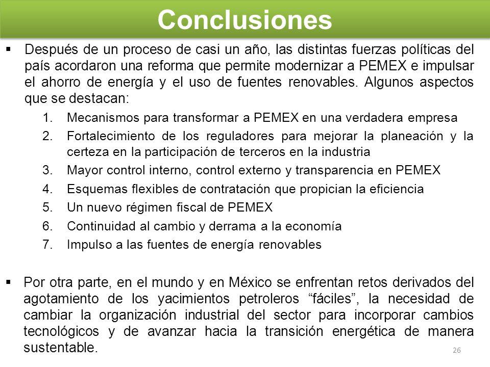 Conclusiones Después de un proceso de casi un año, las distintas fuerzas políticas del país acordaron una reforma que permite modernizar a PEMEX e imp