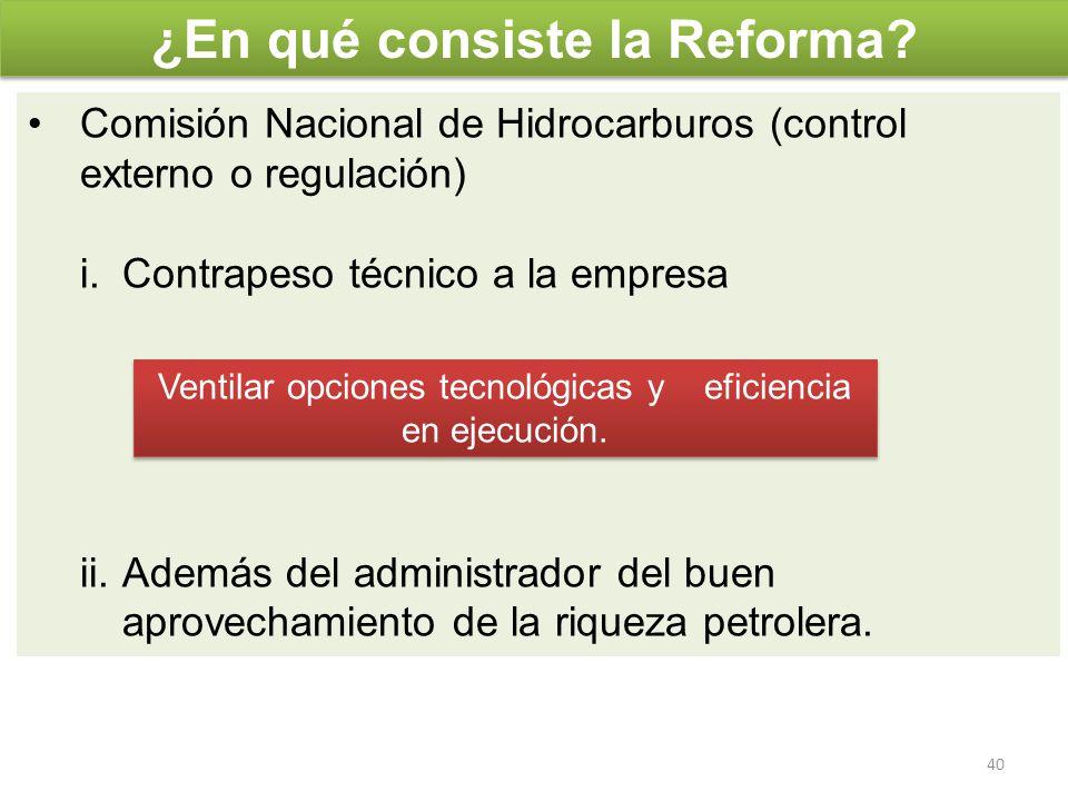 Comisión Nacional de Hidrocarburos (control externo o regulación) i.Contrapeso técnico a la empresa ii.Además del administrador del buen aprovechamien