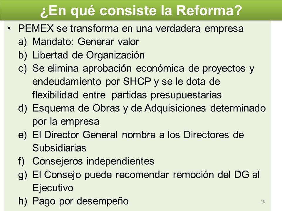 PEMEX se transforma en una verdadera empresa a)Mandato: Generar valor b)Libertad de Organización c)Se elimina aprobación económica de proyectos y ende