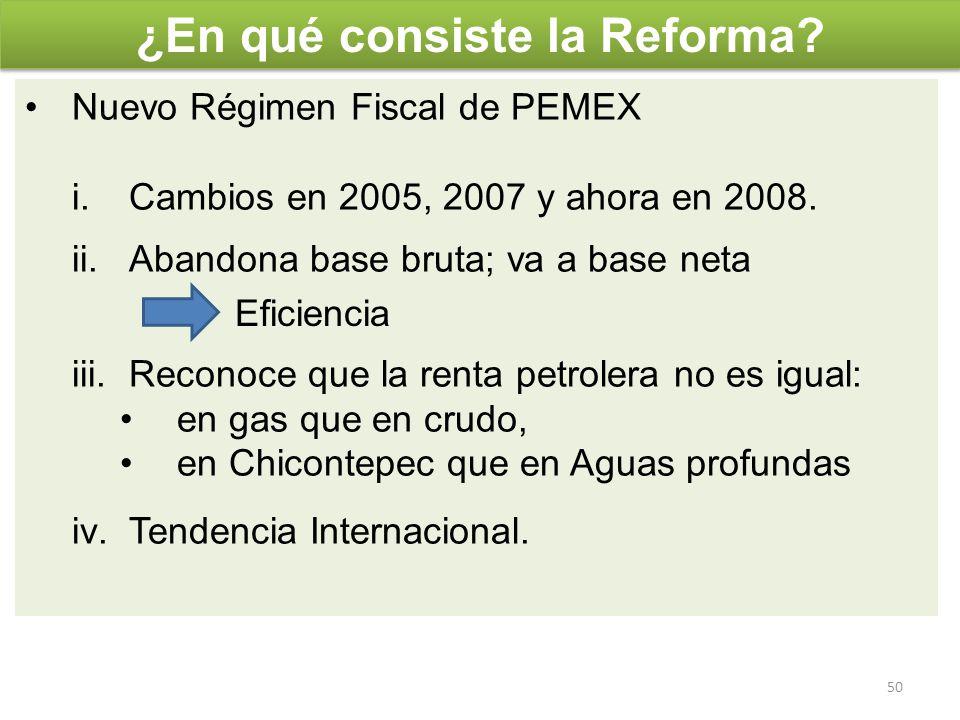 Nuevo Régimen Fiscal de PEMEX i.Cambios en 2005, 2007 y ahora en 2008. ii.Abandona base bruta; va a base neta iii.Reconoce que la renta petrolera no e