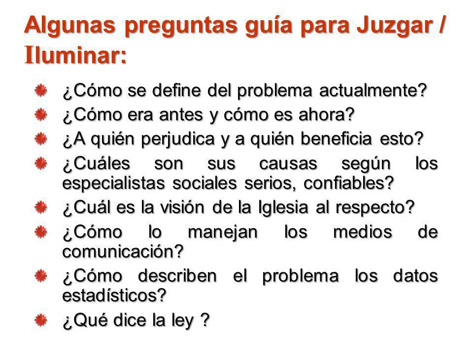 Algunas preguntas guía para Juzgar / I luminar: ¿Cómo se define del problema actualmente? ¿Cómo era antes y cómo es ahora? ¿A quién perjudica y a quié