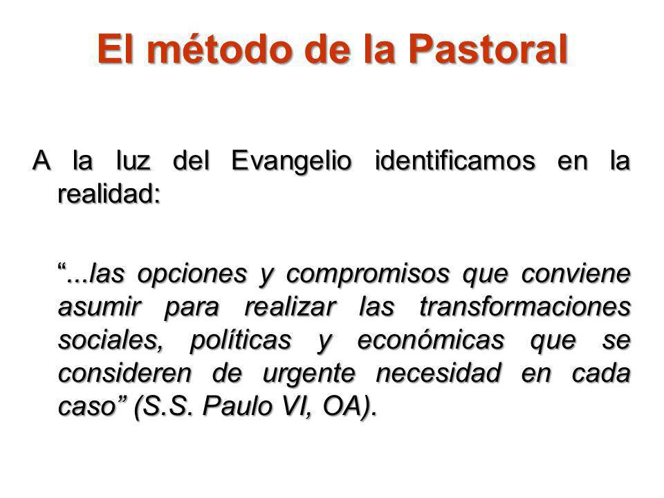 El método de la Pastoral A la luz del Evangelio identificamos en la realidad:...las opciones y compromisos que conviene asumir para realizar las trans