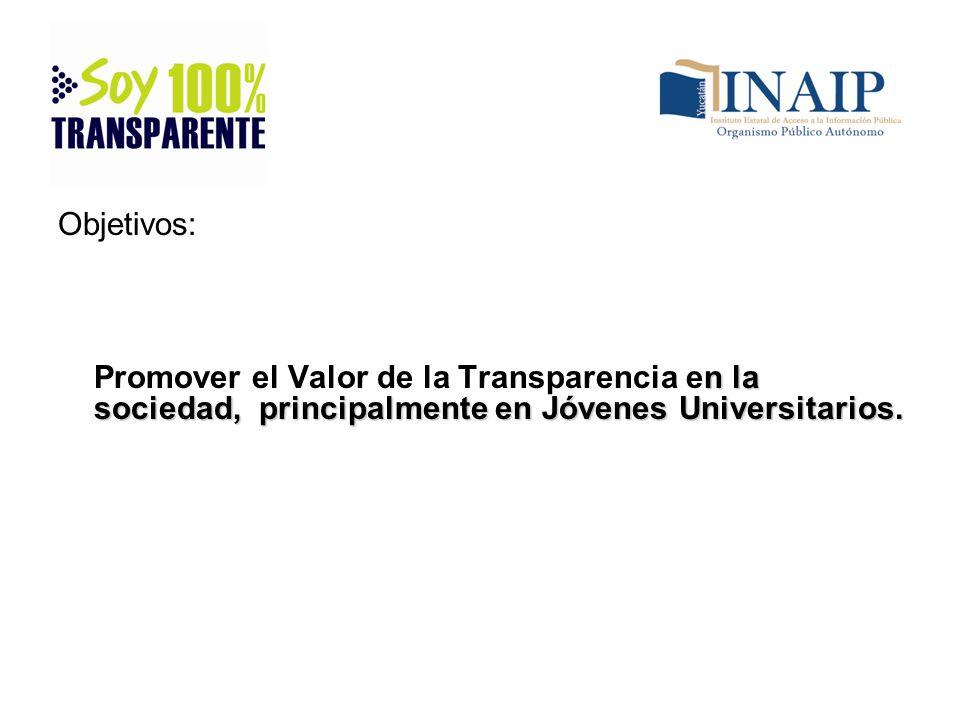 Objetivos: n la sociedad, principalmente en Jóvenes Universitarios. Promover el Valor de la Transparencia en la sociedad, principalmente en Jóvenes Un