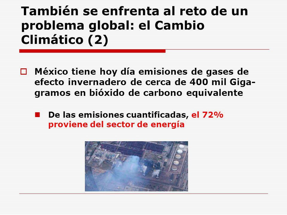 También se enfrenta al reto de un problema global: el Cambio Climático (2) México tiene hoy día emisiones de gases de efecto invernadero de cerca de 400 mil Giga- gramos en bióxido de carbono equivalente De las emisiones cuantificadas, el 72% proviene del sector de energía