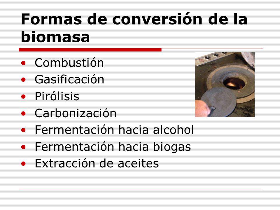 Formas de conversión de la biomasa Combustión Gasificación Pirólisis Carbonización Fermentación hacia alcohol Fermentación hacia biogas Extracción de aceites