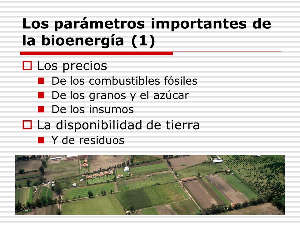 Los parámetros importantes de la bioenergía (1) Los precios De los combustibles fósiles De los granos y el azúcar De los insumos La disponibilidad de tierra Y de residuos