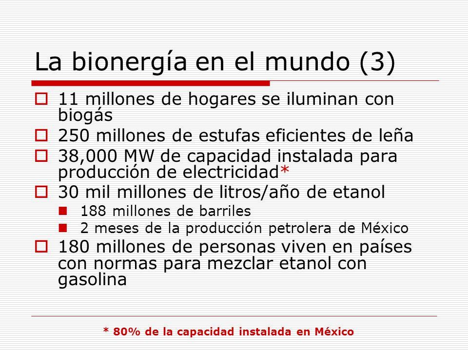 La bionergía en el mundo (3) 11 millones de hogares se iluminan con biogás 250 millones de estufas eficientes de leña 38,000 MW de capacidad instalada para producción de electricidad* 30 mil millones de litros/año de etanol 188 millones de barriles 2 meses de la producción petrolera de México 180 millones de personas viven en países con normas para mezclar etanol con gasolina * 80% de la capacidad instalada en México