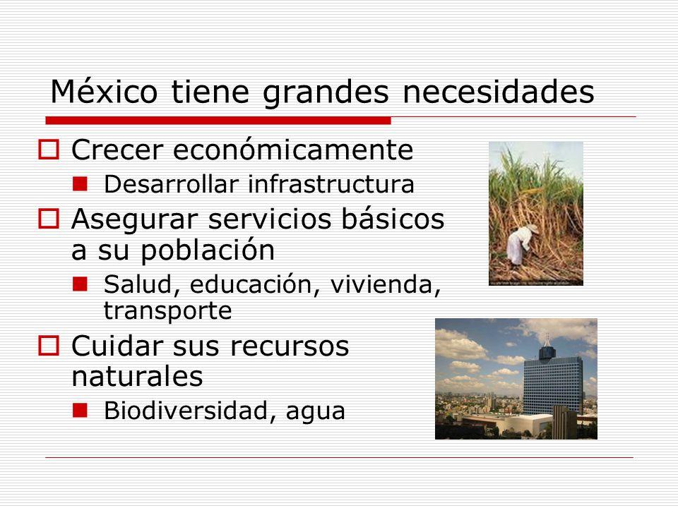 México tiene grandes necesidades Crecer económicamente Desarrollar infrastructura Asegurar servicios básicos a su población Salud, educación, vivienda, transporte Cuidar sus recursos naturales Biodiversidad, agua