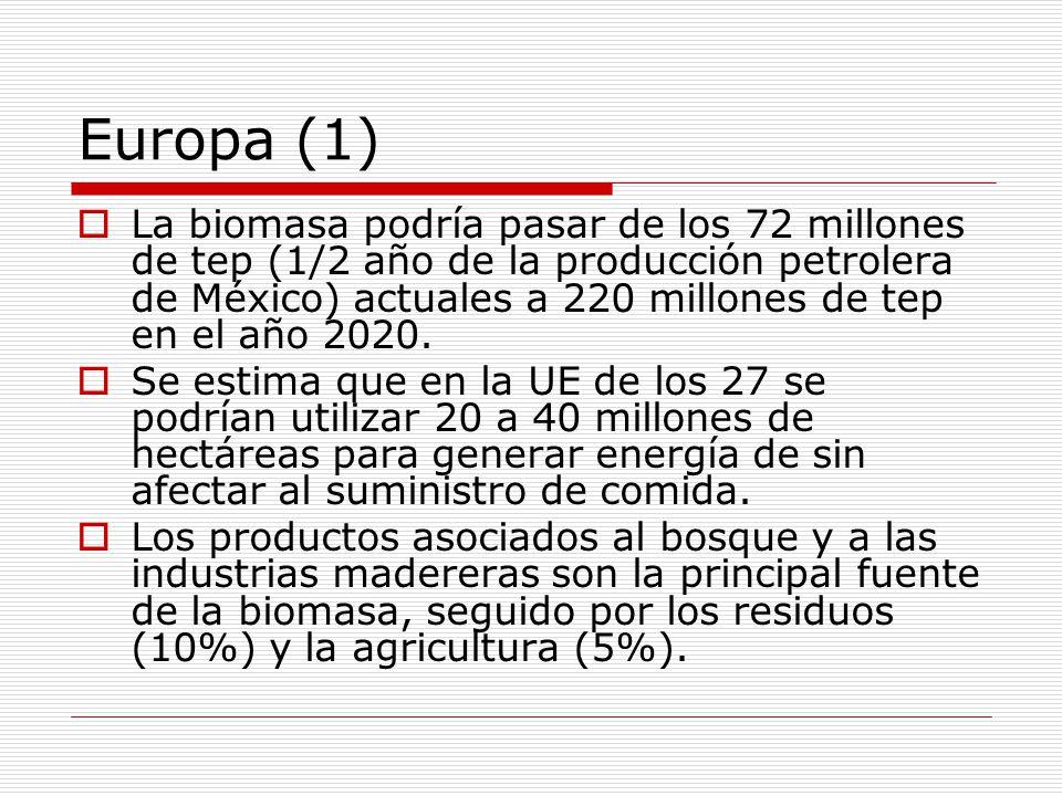 Europa (1) La biomasa podría pasar de los 72 millones de tep (1/2 año de la producción petrolera de México) actuales a 220 millones de tep en el año 2020.