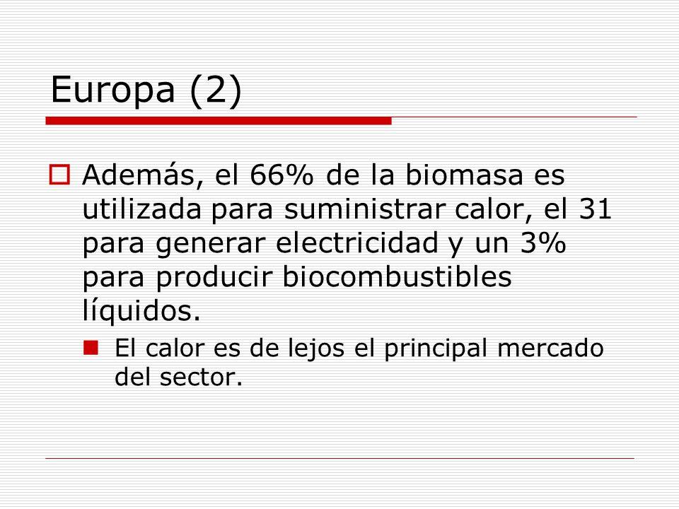 Europa (2) Además, el 66% de la biomasa es utilizada para suministrar calor, el 31 para generar electricidad y un 3% para producir biocombustibles líquidos.