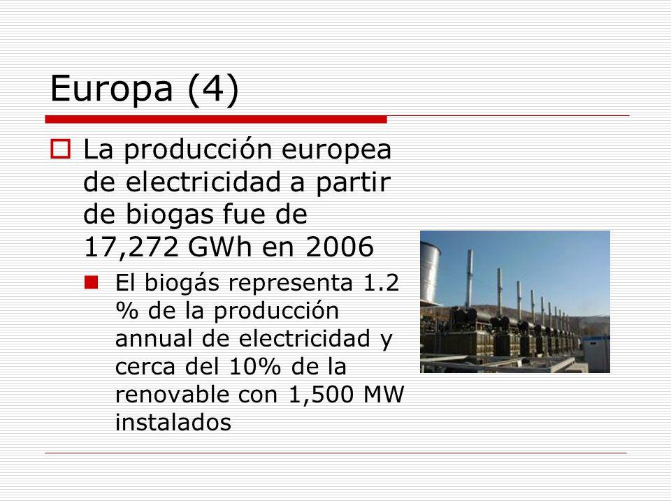 Europa (4) La producción europea de electricidad a partir de biogas fue de 17,272 GWh en 2006 El biogás representa 1.2 % de la producción annual de electricidad y cerca del 10% de la renovable con 1,500 MW instalados