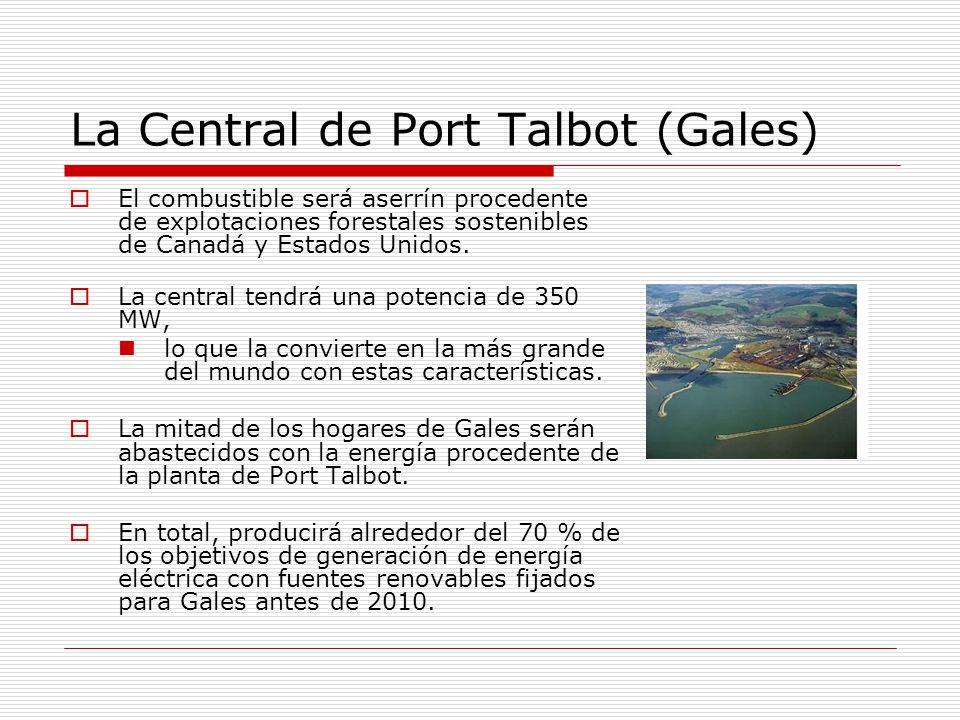 La Central de Port Talbot (Gales) El combustible será aserrín procedente de explotaciones forestales sostenibles de Canadá y Estados Unidos.