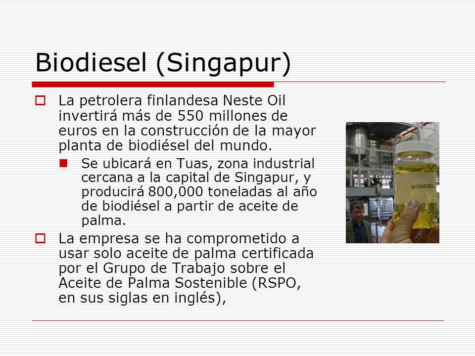 Biodiesel (Singapur) La petrolera finlandesa Neste Oil invertirá más de 550 millones de euros en la construcción de la mayor planta de biodiésel del mundo.