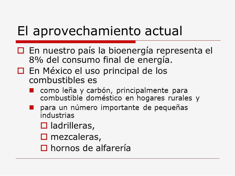 El aprovechamiento actual En nuestro país la bioenergía representa el 8% del consumo final de energía.