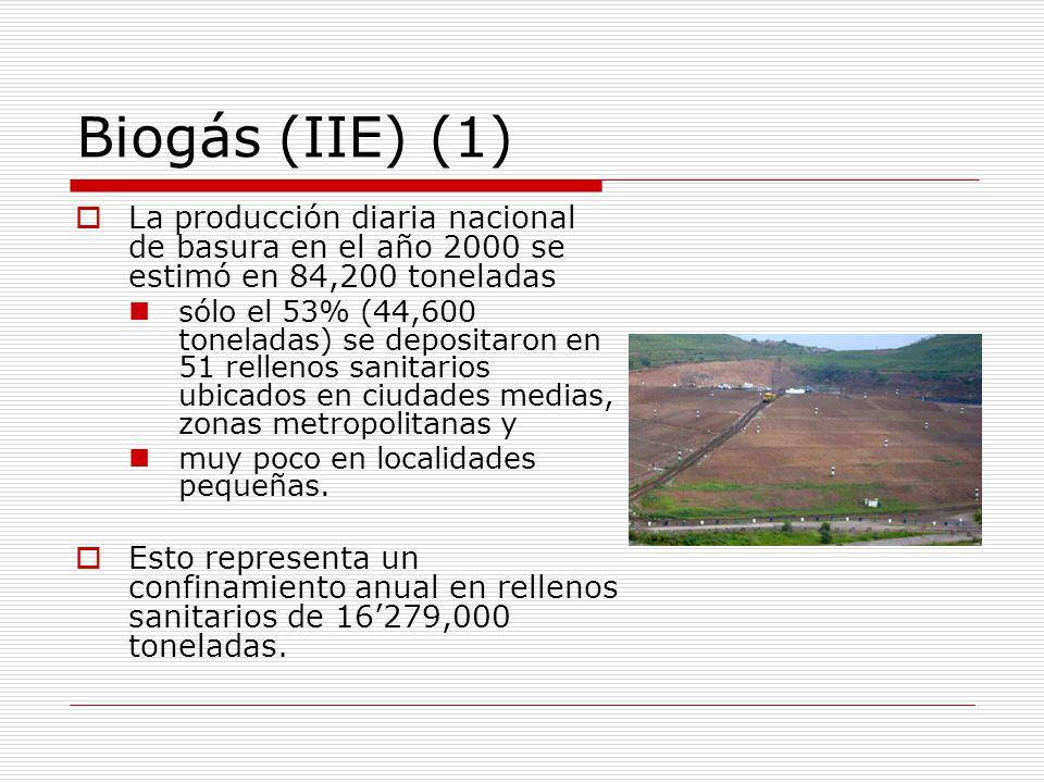 Biogás (IIE) (1) La producción diaria nacional de basura en el año 2000 se estimó en 84,200 toneladas sólo el 53% (44,600 toneladas) se depositaron en 51 rellenos sanitarios ubicados en ciudades medias, zonas metropolitanas y muy poco en localidades pequeñas.