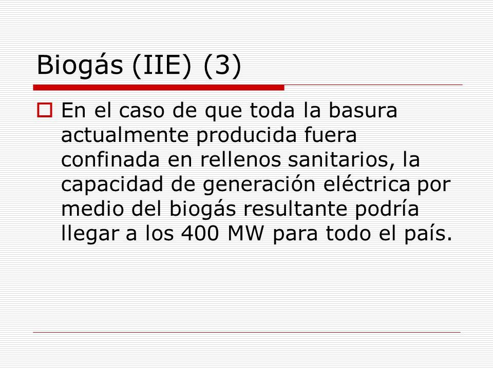 Biogás (IIE) (3) En el caso de que toda la basura actualmente producida fuera confinada en rellenos sanitarios, la capacidad de generación eléctrica por medio del biogás resultante podría llegar a los 400 MW para todo el país.