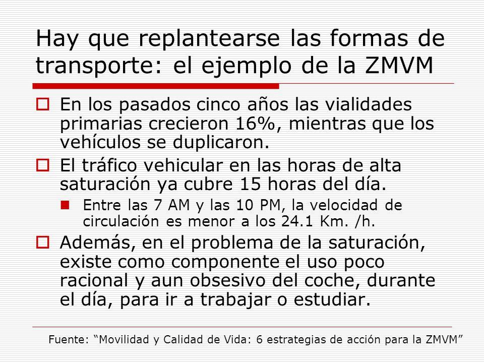 Hay que replantearse las formas de transporte: el ejemplo de la ZMVM En los pasados cinco años las vialidades primarias crecieron 16%, mientras que los vehículos se duplicaron.