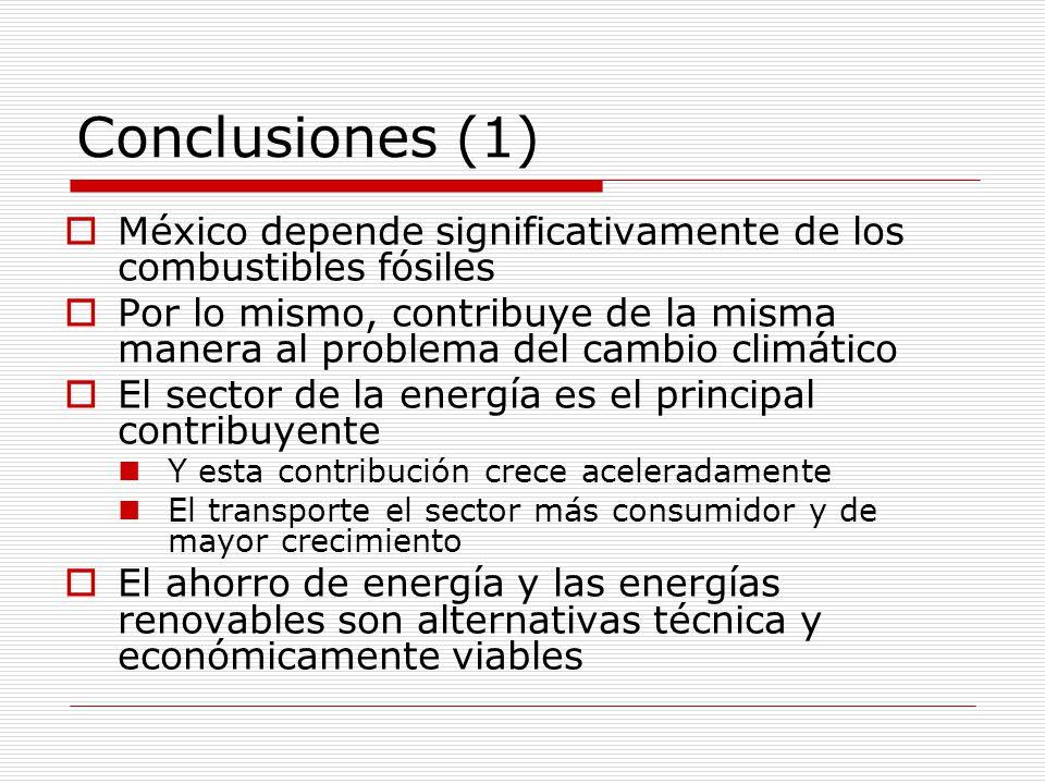 Conclusiones (1) México depende significativamente de los combustibles fósiles Por lo mismo, contribuye de la misma manera al problema del cambio climático El sector de la energía es el principal contribuyente Y esta contribución crece aceleradamente El transporte el sector más consumidor y de mayor crecimiento El ahorro de energía y las energías renovables son alternativas técnica y económicamente viables