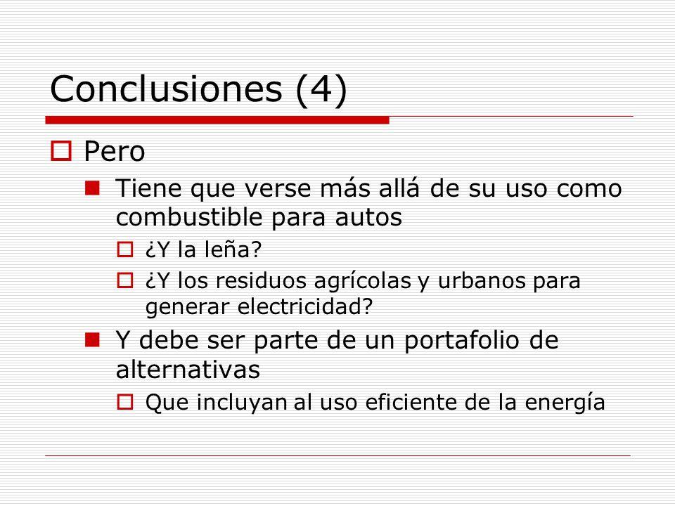 Conclusiones (4) Pero Tiene que verse más allá de su uso como combustible para autos ¿Y la leña.