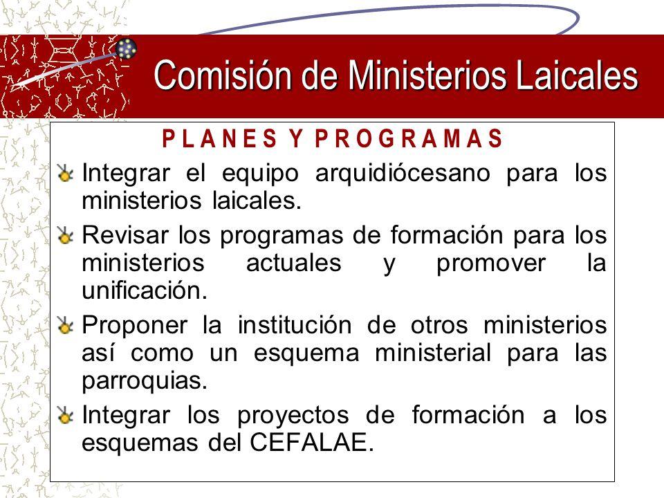 P L A N E S Y P R O G R A M A S Integrar el equipo arquidiócesano para los ministerios laicales. Revisar los programas de formación para los ministeri
