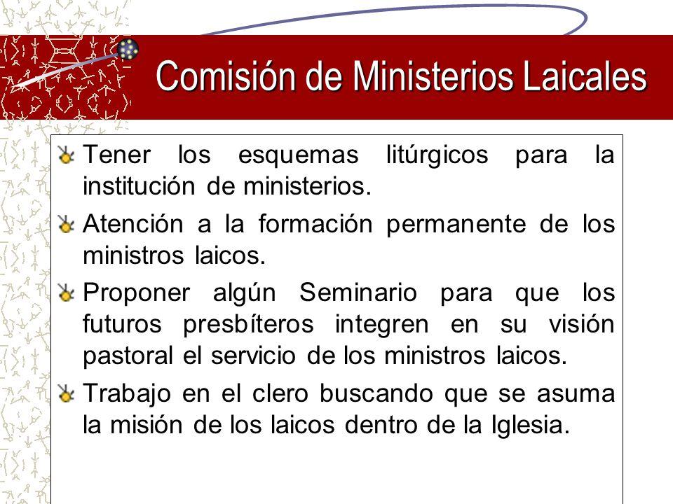 Tener los esquemas litúrgicos para la institución de ministerios. Atención a la formación permanente de los ministros laicos. Proponer algún Seminario