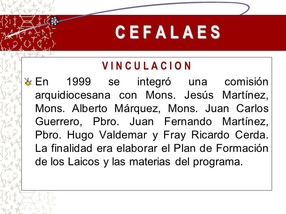 V I N C U L A C I O N En 1999 se integró una comisión arquidiocesana con Mons. Jesús Martínez, Mons. Alberto Márquez, Mons. Juan Carlos Guerrero, Pbro