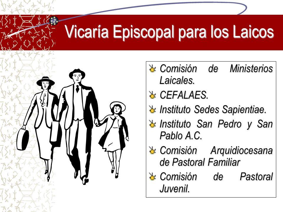 Vicaría Episcopal para los Laicos Comisión de Ministerios Laicales. CEFALAES. Instituto Sedes Sapientiae. Instituto San Pedro y San Pablo A.C. Comisió