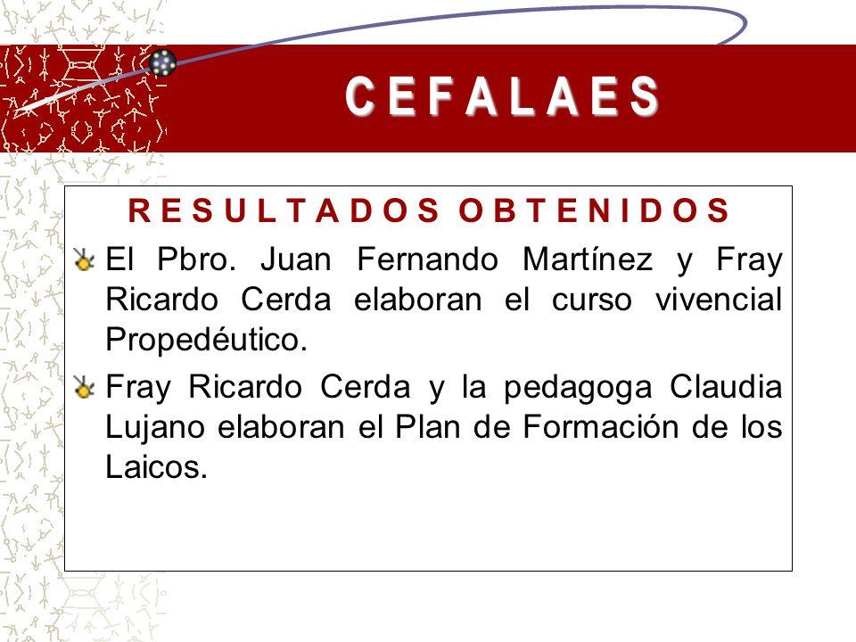 R E S U L T A D O S O B T E N I D O S El Pbro. Juan Fernando Martínez y Fray Ricardo Cerda elaboran el curso vivencial Propedéutico. Fray Ricardo Cerd