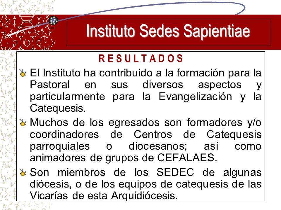 R E S U L T A D O S El Instituto ha contribuido a la formación para la Pastoral en sus diversos aspectos y particularmente para la Evangelización y la