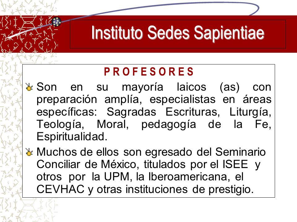 P R O F E S O R E S Son en su mayoría laicos (as) con preparación amplía, especialistas en áreas específicas: Sagradas Escrituras, Liturgía, Teología,