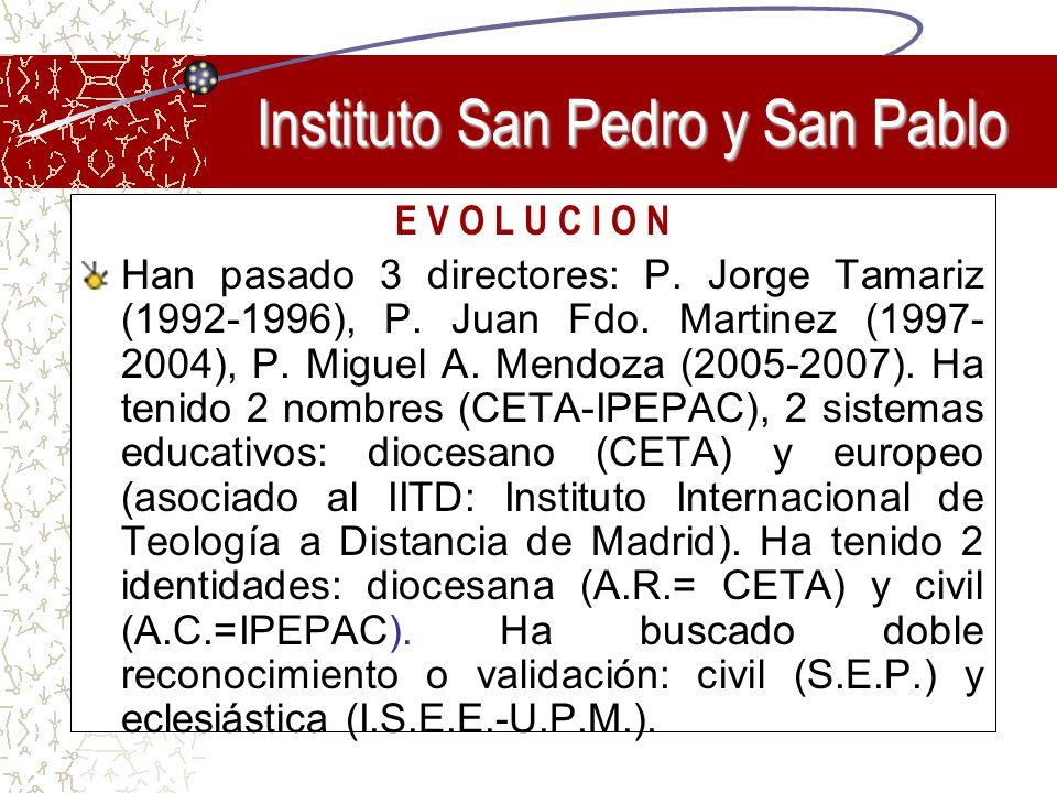 E V O L U C I O N Han pasado 3 directores: P. Jorge Tamariz (1992-1996), P. Juan Fdo. Martinez (1997- 2004), P. Miguel A. Mendoza (2005-2007). Ha teni