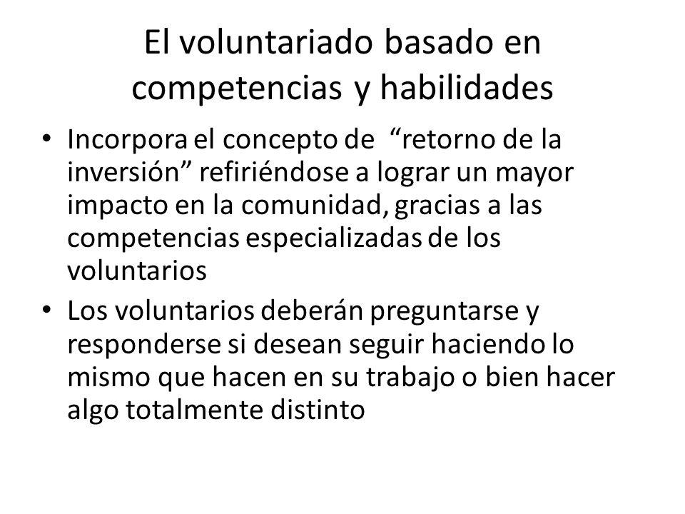 El voluntariado basado en competencias y habilidades Incorpora el concepto de retorno de la inversión refiriéndose a lograr un mayor impacto en la com