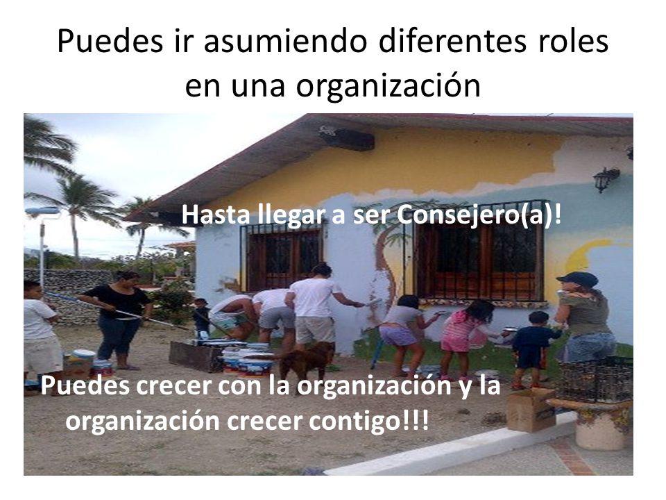 Puedes ir asumiendo diferentes roles en una organización Hasta llegar a ser Consejero(a)! Puedes crecer con la organización y la organización crecer c