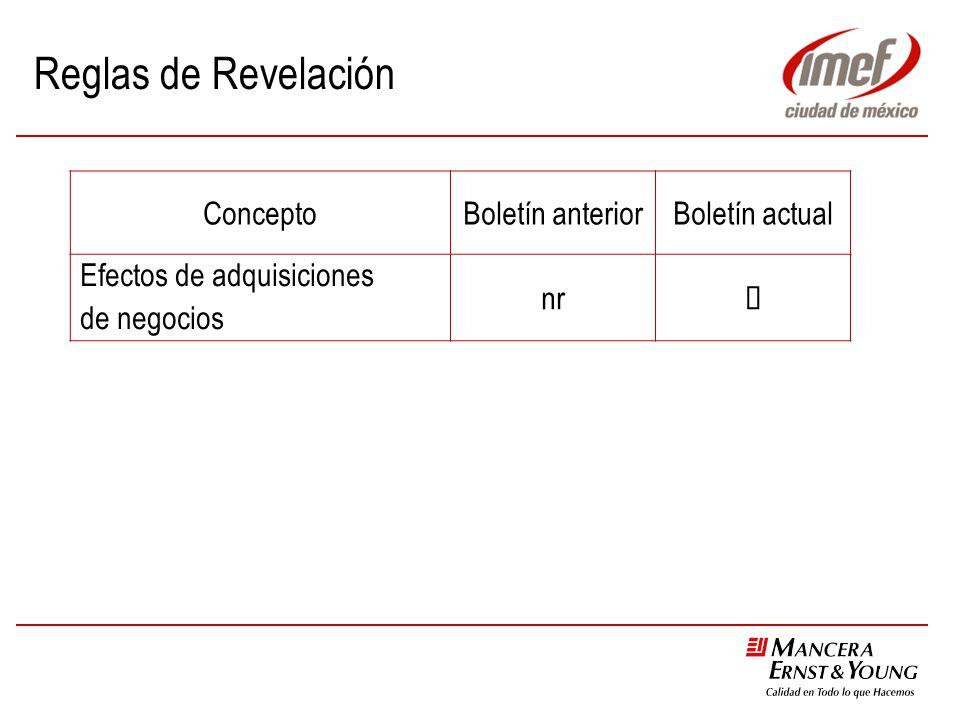 Reglas de Revelación ConceptoBoletín anteriorBoletín actual Efectos de adquisiciones de negocios nr