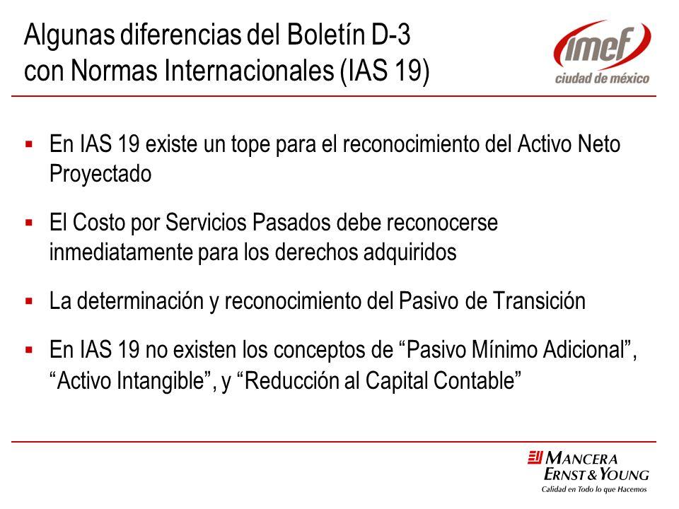Algunas diferencias del Boletín D-3 con Normas Internacionales (IAS 19) En IAS 19 existe un tope para el reconocimiento del Activo Neto Proyectado El