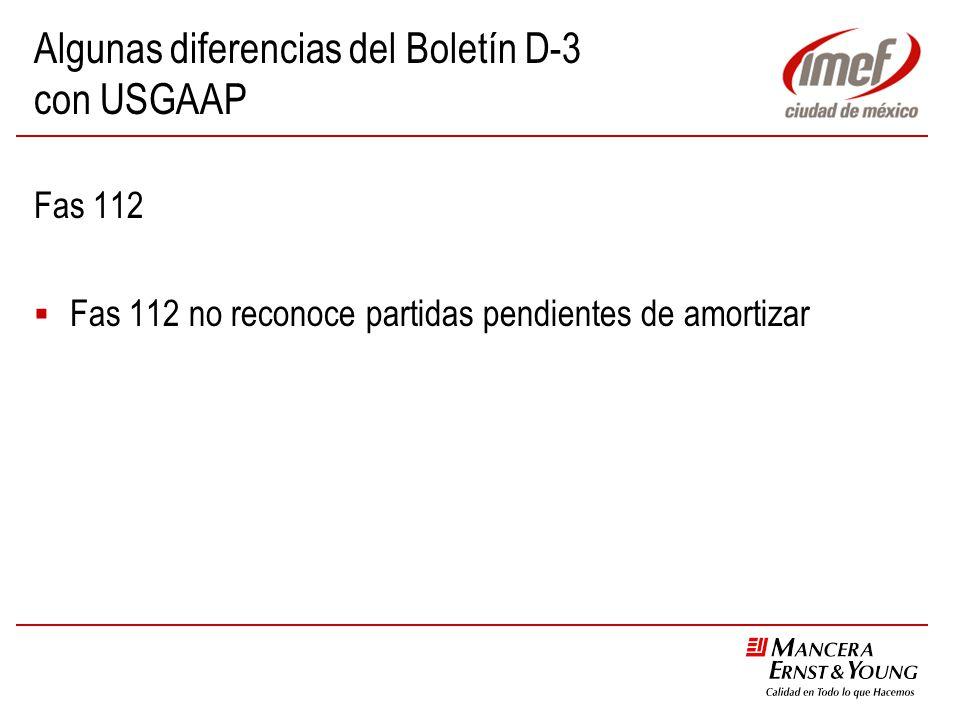 Algunas diferencias del Boletín D-3 con USGAAP Fas 112 Fas 112 no reconoce partidas pendientes de amortizar
