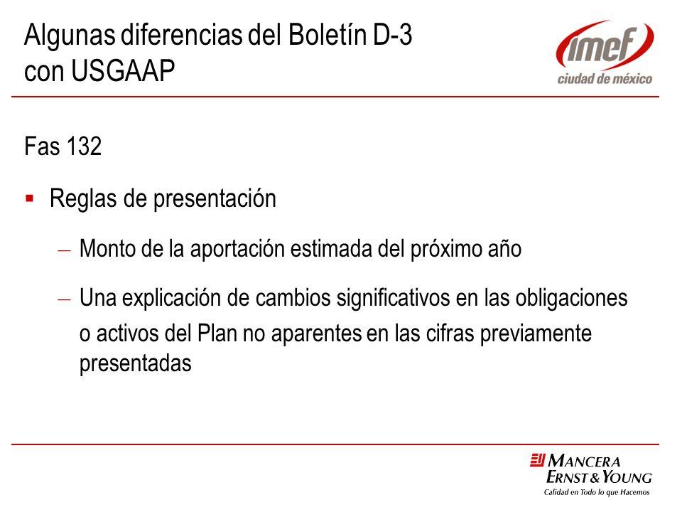 Algunas diferencias del Boletín D-3 con USGAAP Fas 132 Reglas de presentación – Monto de la aportación estimada del próximo año – Una explicación de c