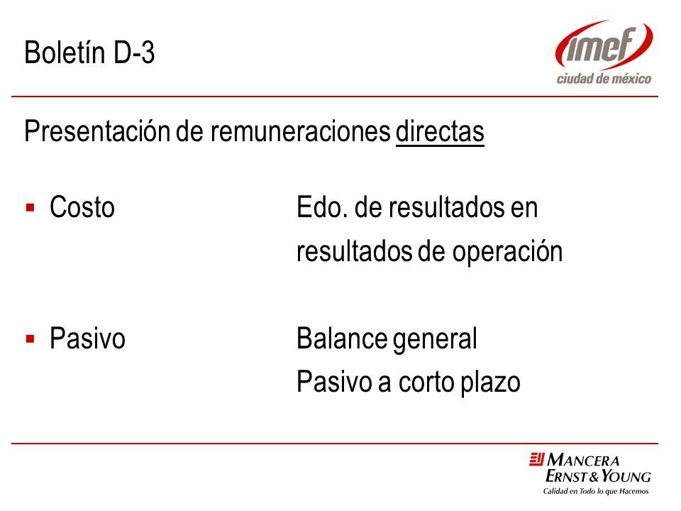 Boletín D-3 Presentación de remuneraciones directas CostoEdo. de resultados en resultados de operación PasivoBalance general Pasivo a corto plazo