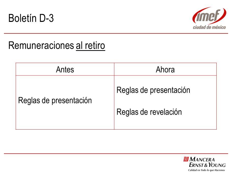 Boletín D-3 Remuneraciones al retiro AntesAhora Reglas de presentación Reglas de revelación