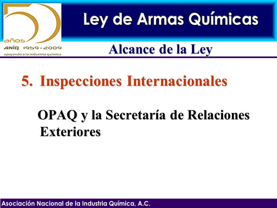 5.Inspecciones Internacionales OPAQ y la Secretaría de Relaciones Exteriores Alcance de la Ley