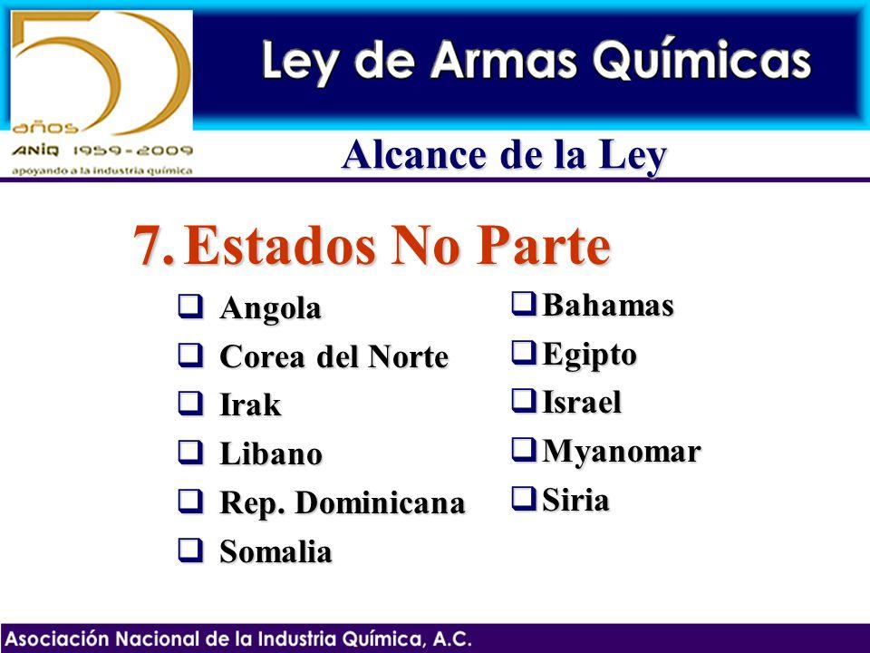 7.Estados No Parte Angola Angola Corea del Norte Corea del Norte Irak Irak Libano Libano Rep. Dominicana Rep. Dominicana Somalia Somalia Bahamas Baham