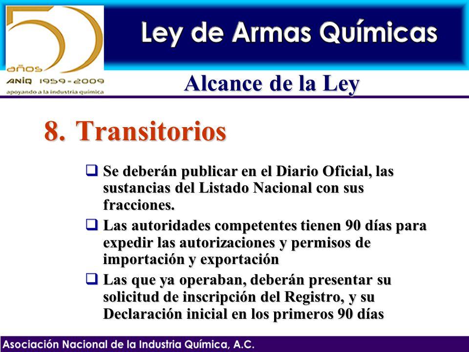 8.Transitorios Se deberán publicar en el Diario Oficial, las sustancias del Listado Nacional con sus fracciones. Se deberán publicar en el Diario Ofic
