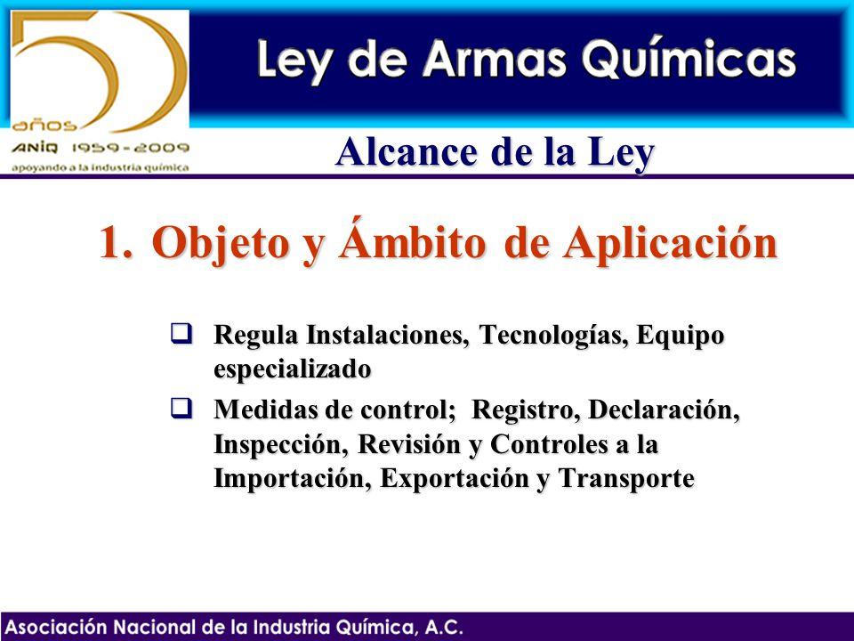 Alcance de la Ley 1.Objeto y Ámbito de Aplicación Regula Instalaciones, Tecnologías, Equipo especializado Regula Instalaciones, Tecnologías, Equipo es