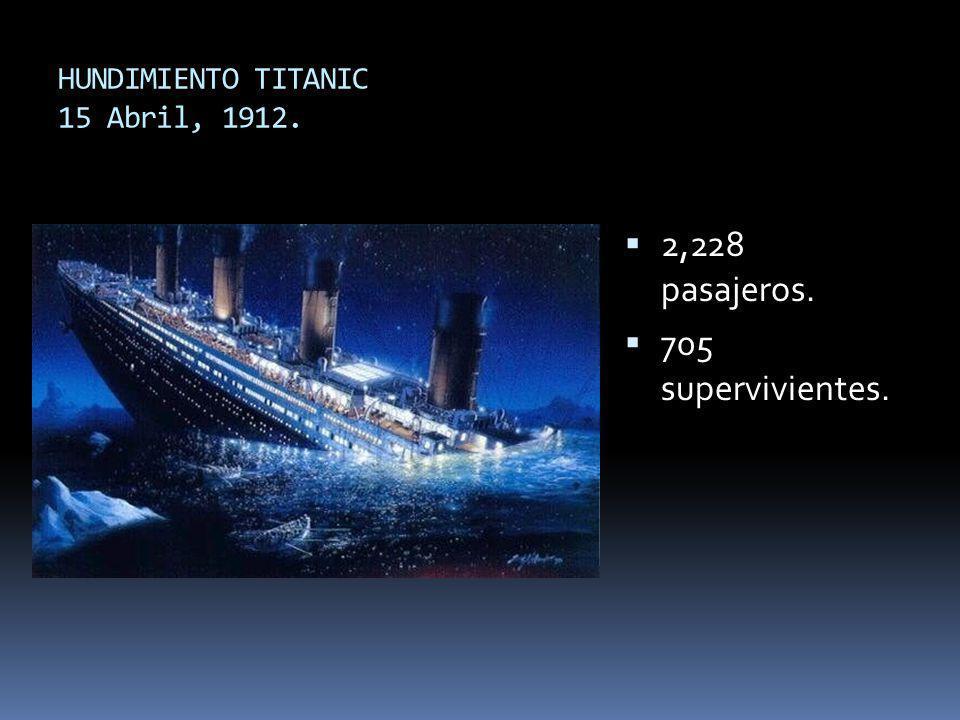 HUNDIMIENTO TITANIC 15 Abril, 1912. 2,228 pasajeros. 705 supervivientes.