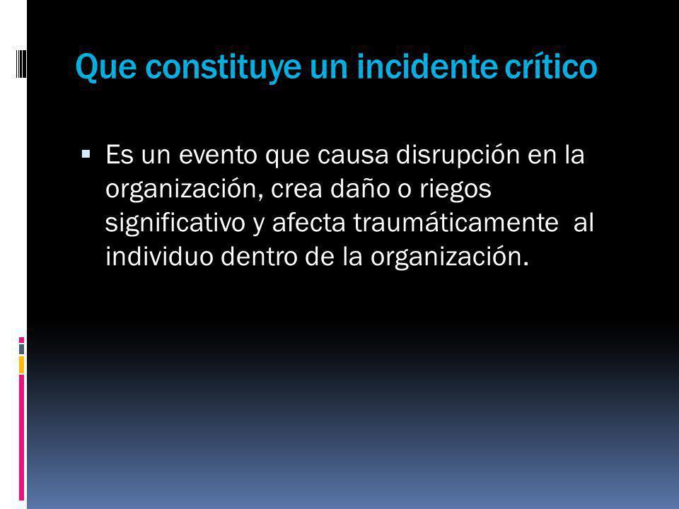 Que constituye un incidente crítico Es un evento que causa disrupción en la organización, crea daño o riegos significativo y afecta traumáticamente al