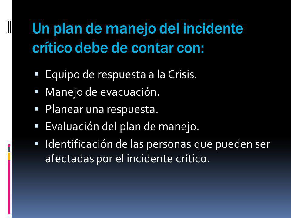 Un plan de manejo del incidente crítico debe de contar con: Equipo de respuesta a la Crisis. Manejo de evacuación. Planear una respuesta. Evaluación d